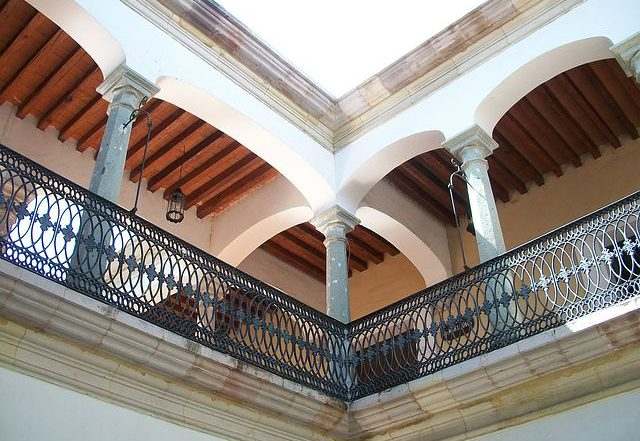 Home surrounded with balustrade