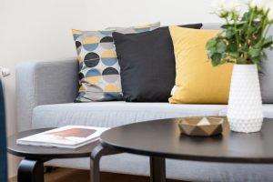 designer cushions in a sofa