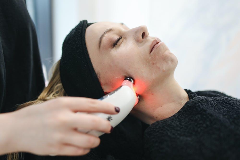 Woman undertaking dermatology trials