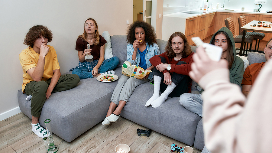 Group of young people using bongs